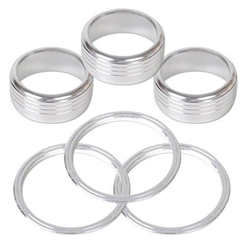 Pack de 6aire acondicionado botón pomo Anillo Kit de cubierta xv-silver