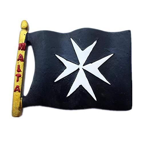 Kühlschrankmagnet Flagge Malta 3D Harz Handgemachtes Handwerk Touristische Reise Stadt Souvenir Sammlung Brief Kühlschrank Aufkleber