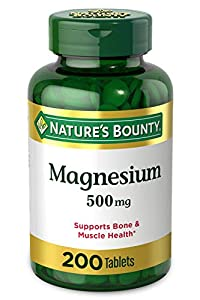 Contains (1) bottle of 200 coated tablets of Nature's Bounty 500 milligram Magnesium mineral supplements. Tablets are coated for easy swallowing and support bone and muscle health, maintaining bone mineralization. No artificial flavors or sweeteners....