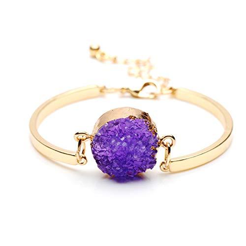 RQWY Armband Mode Naturstein Perlen Druzy Armreifen Für Frauen Partei Schmuck Quarz Kristall Charme Manschette Armband