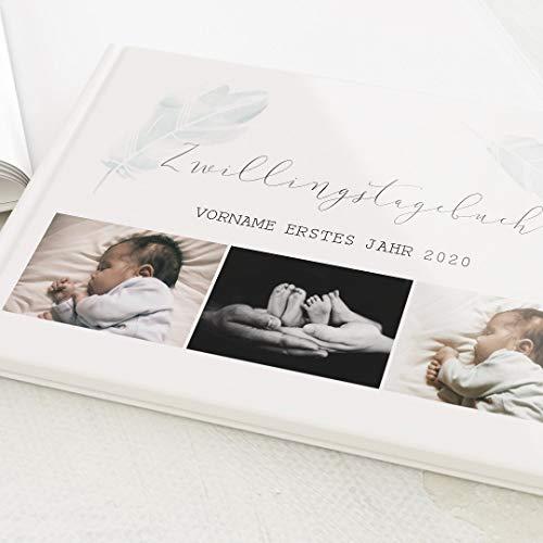 Babytagebuch blanko Zwillinge, Eintragbuch für Erinnerungen im 1. Jahr, personalisiert mit Ihrem Wunschtext & -bild, Baby Journal, Erinnerungsalbum, Babybuch zur individuellen Gestaltung, Lebensbuch