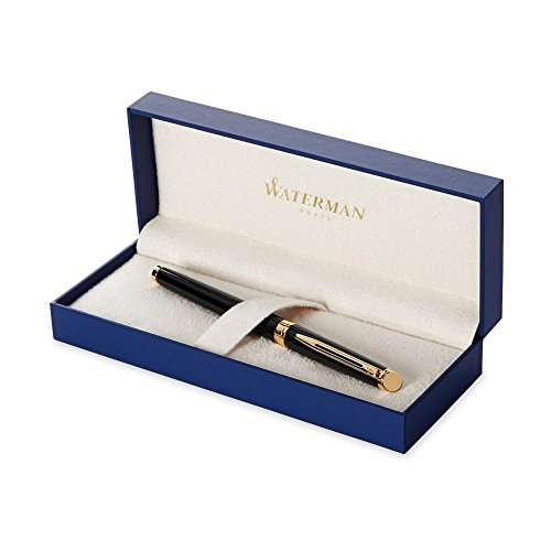 Waterman Hemisphere Fountain Pen, Matte Black with 23k Gold Trim, Medium Nib with Blue Ink Cartridge, Gift Box