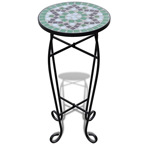 mewmewcat Mosaic Side Table Terracotta Plant Table Garden Planter Furniture Iron Tube and Ceramic Tile Green White