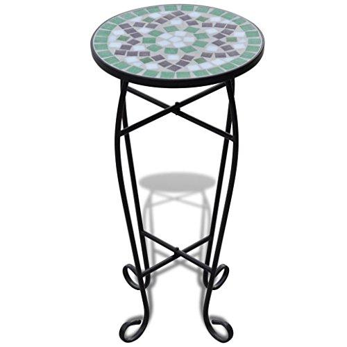 Tidyard Mosaiktisch Mosaik Beistelltisch Bistrotisch Balkontisch mit Eisenrahmen, Rund,30 x 60 cm (? x H), Wei?-Grün