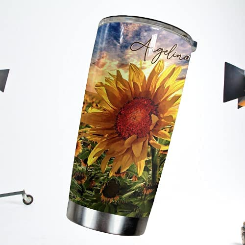 Personalized Al sold out. Vintage Watercolor Sunflower For Sunf New arrival Gifts Tumbler