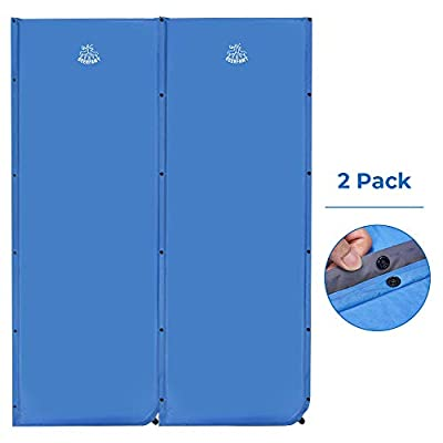 DEERFAMY Wider Self Inflating Sleeping Pad, 25 Inch Super Wide Self-Inflating Camping Foam Pads, 73 x 25 x 1.5 Inch Large Comfortable for Side Sleeper, Connectable for Family Camping, Blue, 2 Pack