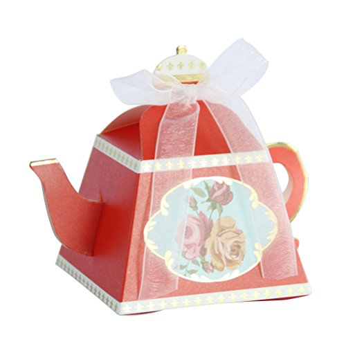 Amosfun 50 stks Candy box klassieke bloemen theepot vorm hot stamping partij gunst dozen ambachtelijke papieren houders geschenkdoos