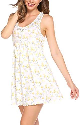 Ekouaer Nightgown Womens Sleeveless Sleepwear O Neck Racerback Sleep Dress Short Nightshirt product image