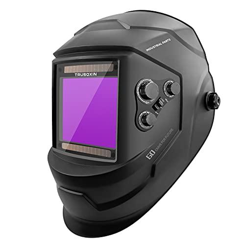 Large Viewing Screen Anti Fog Up True Color Solar Powered Auto Darkening Welding Helmet, 4 Sensor & Wide Shade Range 5/9-13 Welding Mask for TIG MIG ARC Weld Grinding