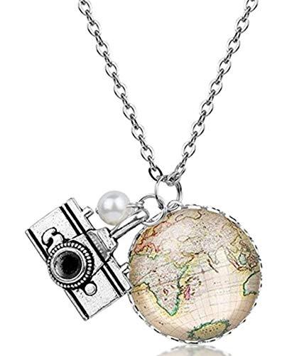 Weltkugel Kette mit Kamera und Perle - Halskette 70cm - Welt Halbkugel Anhänger 2,5cm