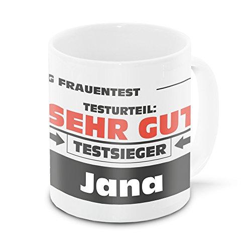 Namens-Tasse Jana mit Motiv Stiftung Frauentest, weiss | Freundschafts-Tasse - Namens-Tasse