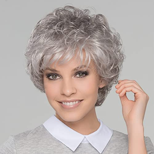 Short Gray Curly Wigs for White Women Sliver Grey Pixie Cut Wig with Bangs Wavy Layered Synthetic Hair Wig Natural Looking