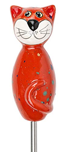 Manufaktur-Lichtbogen Katze aus Keramik rot 17 cm hoch Gartenkeramik