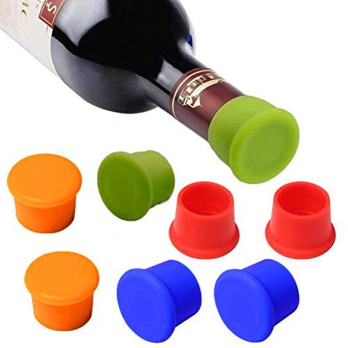 MUCHEN-SHOP Flaschenverschluss,Silikon Kronkorken 8er Pack Farbige Weinverschluss Weinflasche Caps für Bier Champagner Alkohol Sekt