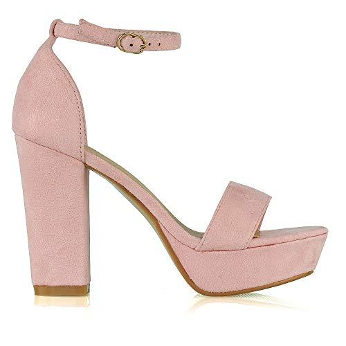 ESSEX GLAM Womens Platform Block Heel Sandals Ladies Peeptoe Party Ankle Strap Shoe Size 3-8