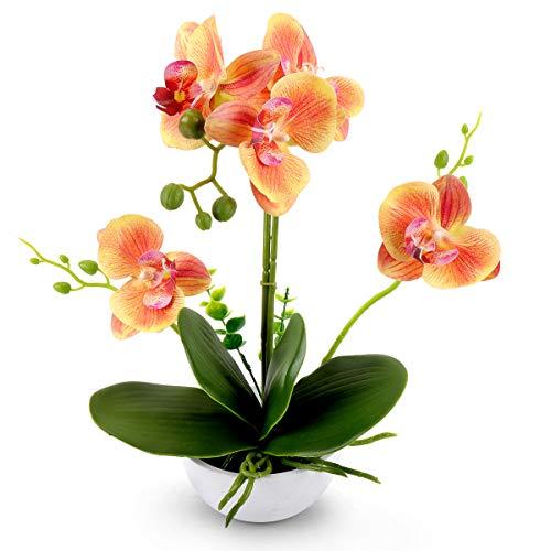 YOBANSA Bonsai de flor de orquídea artificial com vaso, flores de seda de orquídea falsa arranjos para decoração de mesa de casa escritório (laranja-B)
