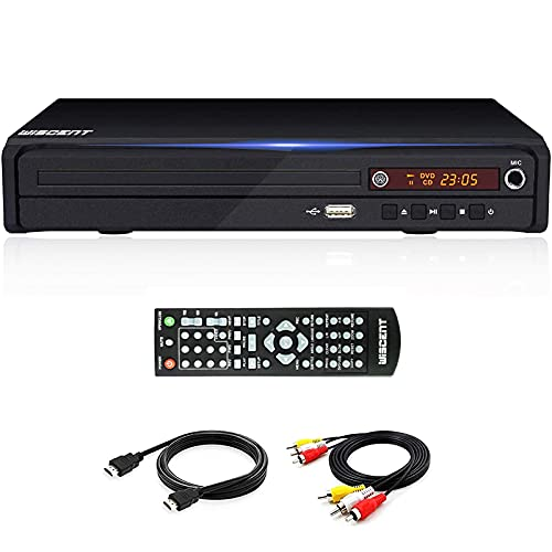 DVD Player - DVD Players for TV with HDMI Output,CD MP3 USB Player for Home, Multi-Region All Region-Free, Remote Control, DivX, (Non Blu-ray),AV HDMI Cable Included