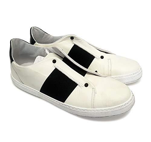 Herren Sneakers IMS aus weißem Leder mit schwarzen elastischen und schwarzen Kegelnieten (100% Made in Italy) 45 EU