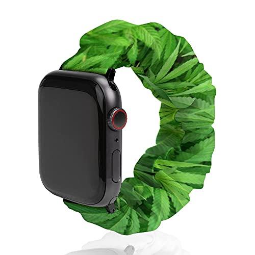 Correa de repuesto para hombre y mujer, compatible con Apple Watch de 42 mm/44 mm, suave y elástica para pulsera iWatch Series SE 6/5/4/3/2/1, marihuana cannabis Weed Plants