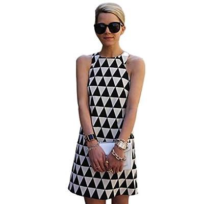 Wensltd Clearance! Women Sleeveless Black&White Plaid Party Beach Short Mini Dress