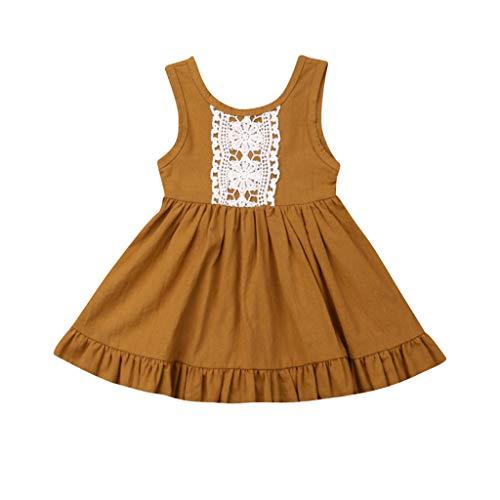 Livoral Kleinkind-Baby-Schwester-Mädchen-Sleeveless Weste-Spitze-Prinzessin Dress Backless Dresses(Gelb,120)