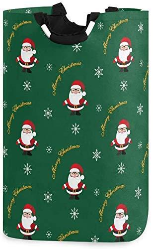 Navidad Invierno Lindo Papá Noel Copo de nieve Verde Bolsa de lavandería plegable Cesto de lavandería Paño de la cesta Ropa elegante para el hogar Bolsa de lavandería con asas