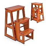 DREAMADE dreistufiger Tritthocker Klappstufen, Trittleiter aus Holz, Treppenstuhl klappbar, Leiterstuhl Hockerleiter Klapphocker, Faltstuhl Trittstuhl Haushaltstritt mit 3 Stufen (Walnuss)