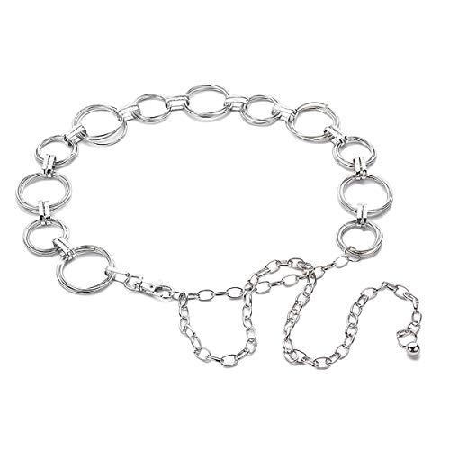 LumiSyne Mode Kettengürtel Für Damen Taillengürtel Gold Silber Glänzende Metall Ring Einstellbare Länge Hüftgurt Kleid Gürtel Körperkette Für Party Hochzeit Alltagskleidung(Silber)