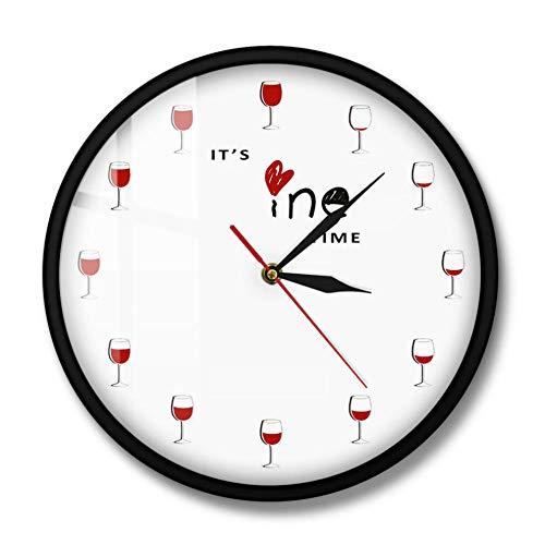 MXHJD-Es Hora del Vino Reloj de Pared Alcohol Copa de Vino Reloj de Vino Tinto Decorativo Reloj Reloj de Licor Restaurante Bebedor de Vino Amante Gift-Metal_Flame