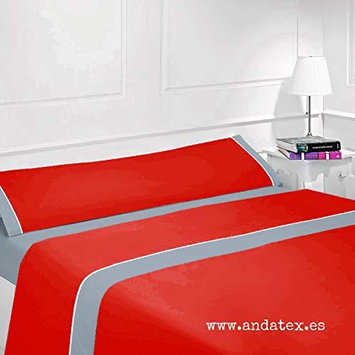 Andatex Juego de Sábana - Rojo/Gris - Bicolor - Tacto Seda
