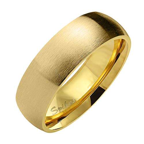 Piersando Band Ring Edelstahl Matt Gebürstet Bandring Ehering Partnerring Trauring Verlobungsring Damen Herren Gold Größe 59 (18.8) Breit 6mm