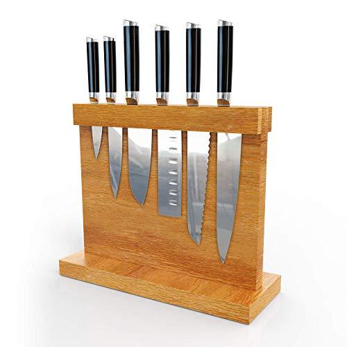 PAKITE Messerblock Magnetisch, Aus hochwertigem Buchenholz ,Natürlicher schwacher Magnet , Doppelter Schutz Gesunder und umweltfreundlicher, leicht zu reinigender Messerhalter [ohne Messer]