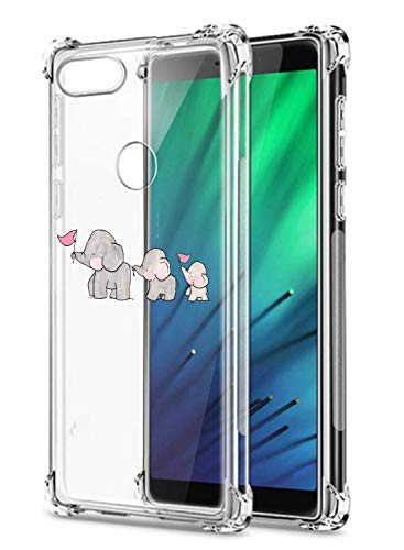 Oihxse Crystal Coque pour Xiaomi Mi A2/Xiaomi Mi 6X Transparent Silicone TPU Etui Air Cushion Coin avec Motif [Elephant Lapin] Housse Antichoc Protection Bumper Cover (A8)