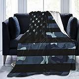 Bernice Winifred Night Camo Dark Blue Camouflage American Flag Manta de Microfibra Ultra Suave Fabricada en Franela Anti-Pilling, más cómoda y cálida.60x50