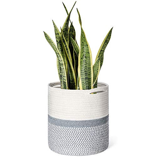 Dahey Cotton Rope Plant Basket Modern Woven Storage Basket for Up to 10' Flower Pot, 11' x 11' Decorative Floor Indoor Planter Cover Laundry Storage Bin with Handles Home Decor, Grey and White
