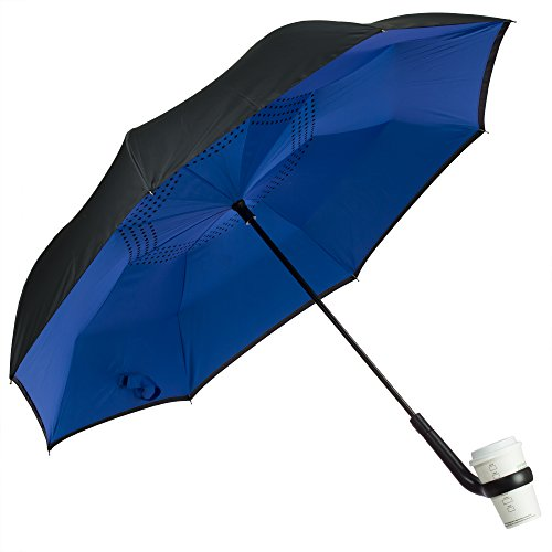 Discover Bargain Urban Zoo Patent Pending Premium Inverted Umbrella W/Cup Holder Handle- Automatic C...