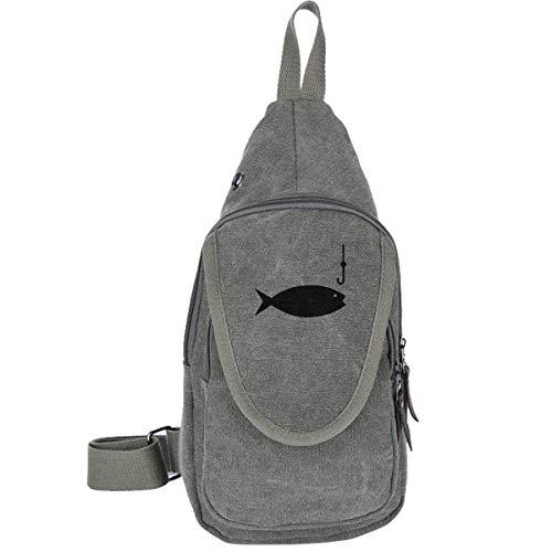 Angelrute Clipart Canvas Sling Bag Outdoor Körper Schulter Brust Pack Reisetaschen für Männer Frauen Moss Green