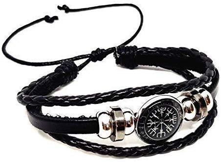 Lederen Viking Vegvisir Rune Compass Manchet Armband 3 Bands IJslands Stave Verenigd Koninkrijk