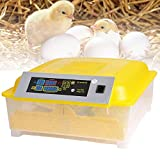 OppsDecor Egg Incubator, 48 Eggs Digital Incubator with Fully Automatic Egg Turning and Humidity Control 80W Clear Hatching for Chicken Duck Eggs (LightYellow)