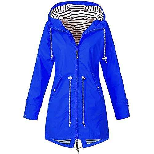 joyvio Chaqueta de Lluvia Ligera Resistente al Viento para Mujer Impermeable Impermeable Abrigo de Lluvia Chaqueta con Capucha S-5XL (Color : Blue, Size : M)