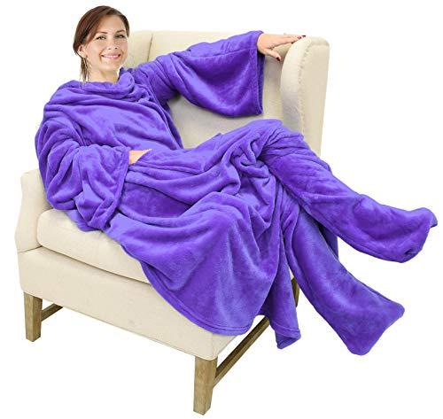 Catalonia TV-Decke Kuscheldecke mit Ärmel und Füßen, Profikuschel Ganzkörper Snuggle Decke zum Anziehen Winter Wolldecke für Erwachsene Frauen und Männer für Geschenk, 190 x 135 cm, Lila