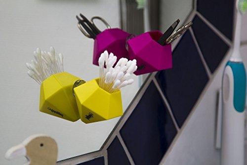 BOK - Moderne Minivase zum Aufhängen | Kreative Vasen-Deko im Auto, Bad & Co. | Qtips Behälter | Wattestäbchen Spender | Saugnapf & Magnet | pink