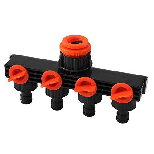 4-Wege-Schlauch-Verteiler 4 Fach Verteiler Wasserverteiler 4-Wege-Ventil für Gartenschläuche Wasserdurchfluss regulier und absperrbar optimaler Wasserhahn Verteiler zum praktischen Einsatz im Garten