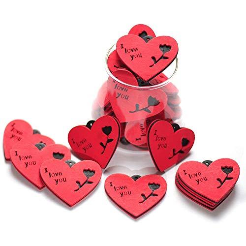 20 Madera Corazones Adornos Color Rojo, Colgante de Madera con Forma de Corazón, Forma de Corazón rojo de Madera para Bodas, Manualidades, Tarjetas, Decoraciones,Valentines