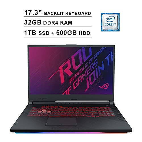 2020 ASUS ROG 17.3 Inch FHD 1080P Gaming Laptop (Intel 6-Core i7-9750H up to 4.5GHz, NVIDIA GTX 1660 Ti 6GB, 32GB DDR4 RAM, 1TB SSD (Boot) + 500GB HDD, Backlit KB, WiFi, Bluetooth, HDMI, Windows 10)