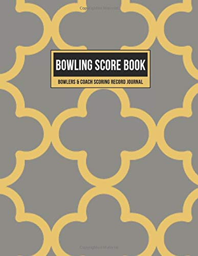 Bowling Score Book Bowlers & Coach Scoring Record Journal: Team Game Score Keeper Notebook with Formatted Sheets for Strikes, Spares, Handicap & Notes (Beige & Gold Geometric Pattern, Band 1)