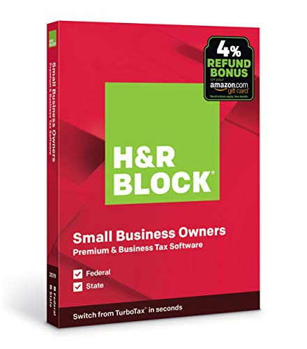 H&R Block Tax Software Premium & Business 2019 with 4% Refund Bonus Offer [Amazon Exclusive] [PC Disc]
