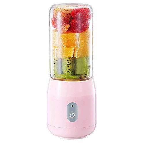 Mini Portable Blender, USB Juicer Blender Met Vier-leaf roestvrijstalen messen, en Mobile Power for thuis en Outdoor Travel, for meerdere doeleinden (Color : Pink)