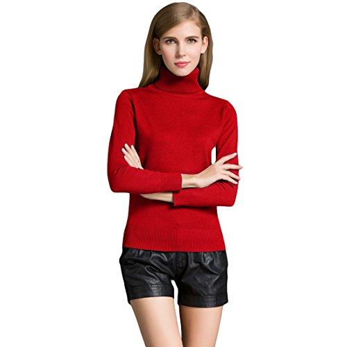 Romacci Damen Pullover Strickwaren Schildkröte Hals Langarm Ribbed Strick Pullover Tops (L, Rot)