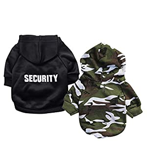 Ollypet Dog Hoodie Security Clothes for Pets Camo Puppy Fleece Outfit Winter Apparel Teacup Chihuahua Yorkie Pack of 2 L